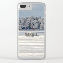 Afternoon Ice Fishing Clear iPhone Case