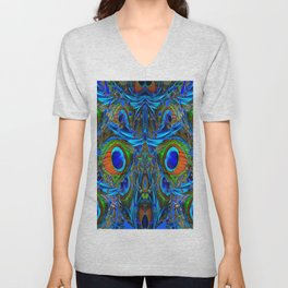 ARTY FEATHERY BLUE PEACOCK ABSTRACTED  FEATHERS ART Unisex V-Neck