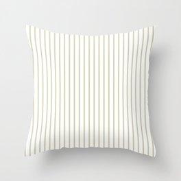 Spanish Moss Green Pinstripe on White Throw Pillow