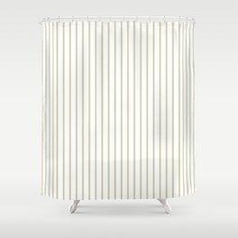 Spanish Moss Green Pinstripe on White Shower Curtain