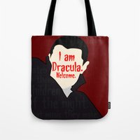 dracula Tote Bags featuring Dracula by Swell Dame