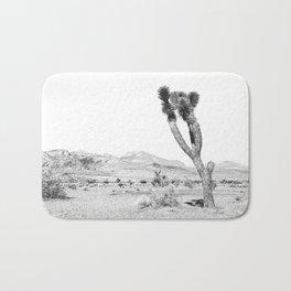 Vintage Desert Scape B&W // Cactus Nature Summer Sun Landscape Black and White Photography Bath Mat