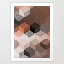 CUBE 2 BROWN Art Print