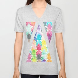 Hawaiian Pineapple Pattern Tropical Watercolor Unisex V-Neck