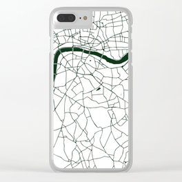 London White on Green Street Map Clear iPhone Case