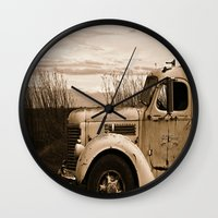 truck Wall Clocks featuring Vintage Truck by Urlaub Photography