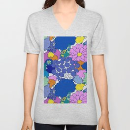 Far-Out 60's Floral in White Unisex V-Neck
