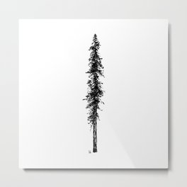 Love in the forest - a couple and their dog under a solitary, towering Douglas Fir tree Metal Print