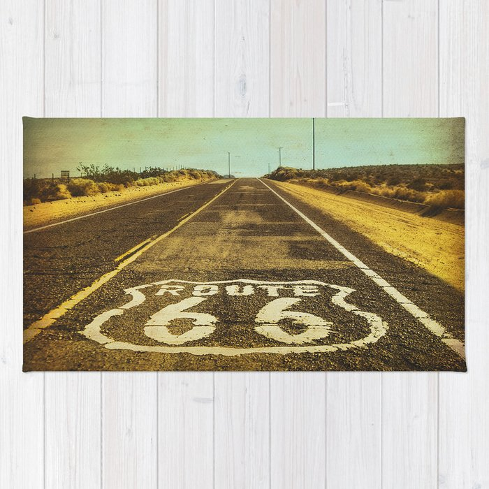 Route 66 Road Marker Rug