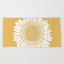 Yellow Sunflower Drawing Beach Towel