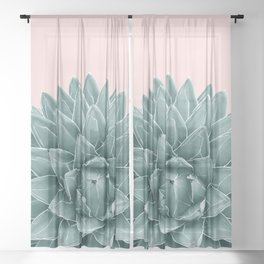 Blush Green Agave Chic #1 #succulent #decor #art #society6 Sheer Curtain