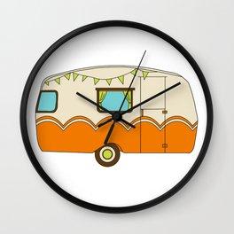 Bright and Cheery Camper Retro Trailer Wall Clock
