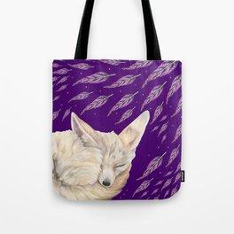 Fennec Fox Feather Dreams in Purple Grape Tote Bag