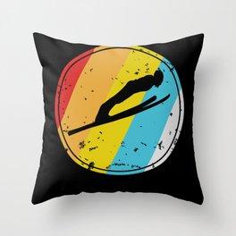 Retro Ski Gift For Skier Skiing Lovers Throw Pillow