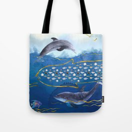 Dolphins Hunting Fish - Surreal Seascape Tote Bag