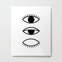 Eye, Eyelashes, Scandinavian, Print, Minimal, Modern, Wall art Metal Print