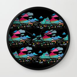 candy mountains over lollipop trees Wall Clock