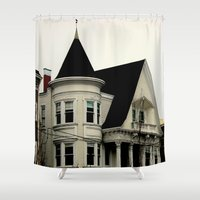 gothic Shower Curtains featuring Ghostly Gothic by oneofacard