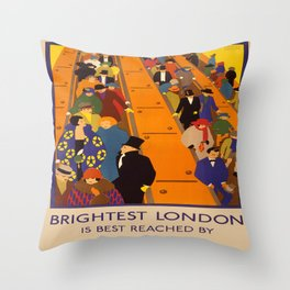 Vintage poster - Brightest London Throw Pillow