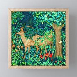 Art Nouveau Forest Deer Tapestry Print Framed Mini Art Print