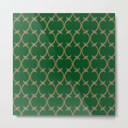 Gold Moroccan Lattice on Green Metal Print