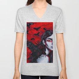 Raven Girl Unisex V-Neck
