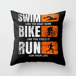 Swimming Cycling Race Triathlete Throw Pillow