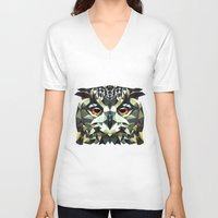 polygon V-neck T-shirts featuring Polygon Owl by Andrew Mason