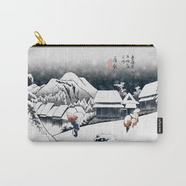 Evening Snow at Kanbara (after Utagawa Hiroshige) Carry-All Pouch