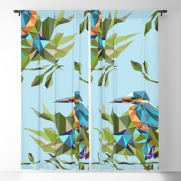 Common Kingfisher (halcyon) in Triangles Blackout Curtain