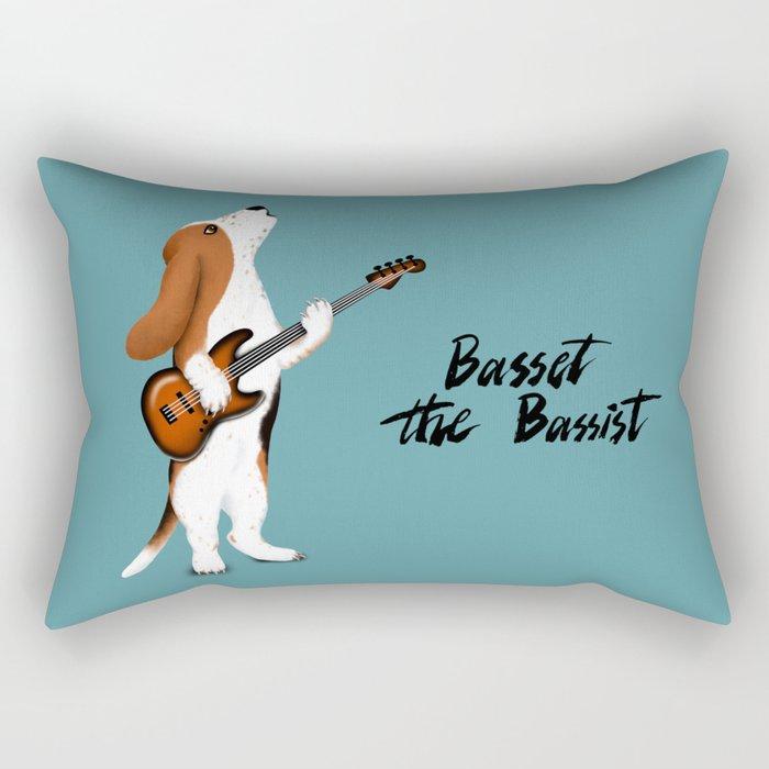 Basset the Bassist (Blue-Gray) Rectangular Pillow
