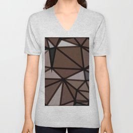 geometric triangle polygon pattern abstract in brown and black Unisex V-Neck