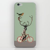 pixies iPhone & iPod Skins featuring Caribou on bicycle by Tintorera