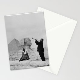 Black and White Photo of Louis Armstrong at the Egyptian Sphinx Stationery Cards