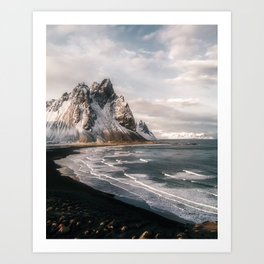 Stokksnes Icelandic Mountain Beach Sunset - Landscape Photography Kunstdrucke