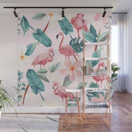 Seamless pattern flamingos and tropical flowers Wall Mural