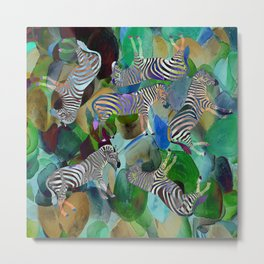 Colorful Zebras QW Metal Print