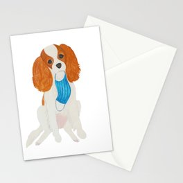 Cavalier King Charles Spaniel with facemask Stationery Cards