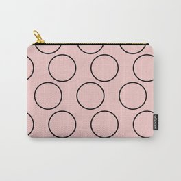 Millennial Pink Brown Circles Carry-All Pouch