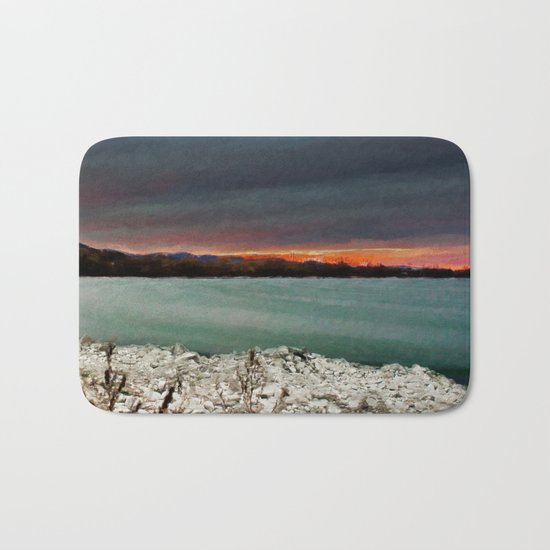 Sunset on the riverside Bath Mat