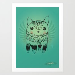 Jelly Fox Blue Art Print