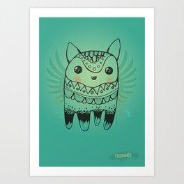 Jelly Fox Blue Art Print