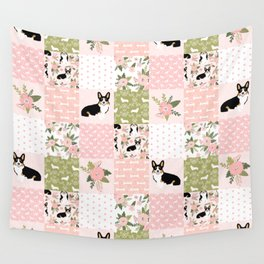 Tricolored Corgi Patchwork - feminine floral, florals corgis, dog lover, dog design, cute dogs Wall Tapestry