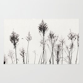 Dried Tall Plants and Flying White Birds Rug