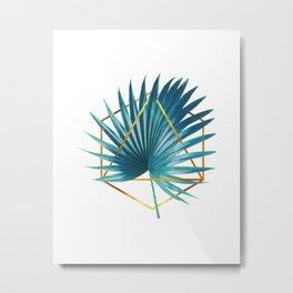 Minimal Tropical Palm Leaf - Palm And Gold - Gold Geometric Shape - Modern Tropical Wall Art - Blue Metal Print