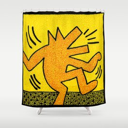 Keith Haring Dancing Dog Shower Curtain