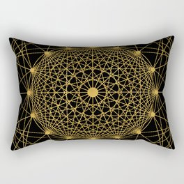 Geometric Circle Black and Gold Rectangular Pillow