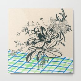 Flowers at the framhouse cafe -line drawing leaves #6 Metal Print