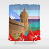 puerto rico Shower Curtains featuring Puerto Rico by PADMA DESIGNS PR