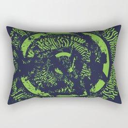 Abstract Calligraphy mandala yellow on blue background Kintingani series Rectangular Pillow
